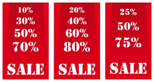 Sale banners red. Sale banners with different percentage degrees made to pay attention of a customers in a shop or market. White lettering on plane red, highly Royalty Free Stock Images