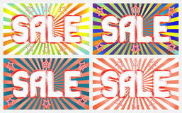 Sale banners set on a bright, contrast background with radiating rays Stock Images