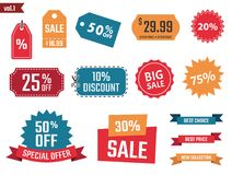 Sale banners set, discount coupons and labels, discount icons Royalty Free Stock Image