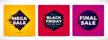 Sale banners set with explosion effect vector illustration