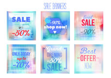 Sale Banners Set With Gradient Mesh, Vivid Vector Illustration for Web and Mobile Applications, social media, posters Stock Photography