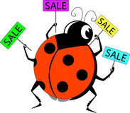 Sale banners set. Labybug with sale banners sets Royalty Free Stock Images