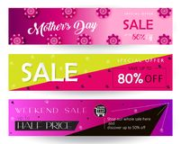 Mother`s Day sale banners set promo flyer. Sale banners set for Mother`s Day gift cards, special offer, discount flyers, web, Spring Holiday decoration, origami Royalty Free Stock Photography