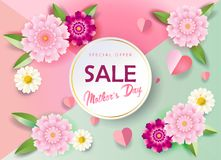 Mother`s Day sale banners set promo flyer. Sale banners set for Mother`s Day gift cards, special offer, discount flyers, web, Spring Holiday decoration, origami Royalty Free Stock Photo