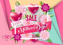 Mother`s Day sale banners set promo flyer Stock Photo
