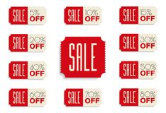 SALE banners set. 5% 10% 15% 20% 30% 40% 50% 60% 70% 80% OFF discount. Vector illustration Royalty Free Stock Images