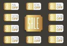 SALE banners set. 5% 10% 15% 20% 30% 40% 50% 60% 70% 80% OFF discount. Vector illustration Stock Photos
