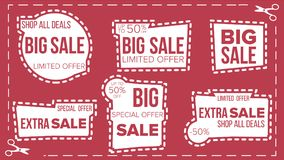 Sale Banners Set Vector. Scissor Cut Border. Discount Badge. Shopping Backgrounds. Flat Isolated Illustration. Sale Banners Set Vector. Craft Blade. Cutout Royalty Free Stock Photography