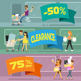 Sale banners with shopping people Stock Photos