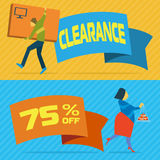 Sale banners with shopping people Royalty Free Stock Photography