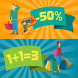 Sale banners with shopping people Stock Photo