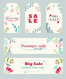 Sale banners and tags with hand drawn floral ornament stock illustration
