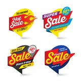 Sale banners template, hot, fire, lightning bubbles. Vector illustration set Stock Photo