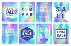 Sale banners template set. Holographic neon background Royalty Free Stock Photo