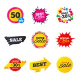 Sale banners templates. Best offers, discounts. Royalty Free Stock Photos