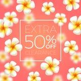 Sale banners with tropical frangipani flowers. Stock Image