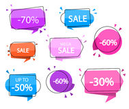 Sale banners. Vector illustration. Special offer. Big sale. -30, 40, 50, 60, 70 off. Sale tags. Best price. Stock Images