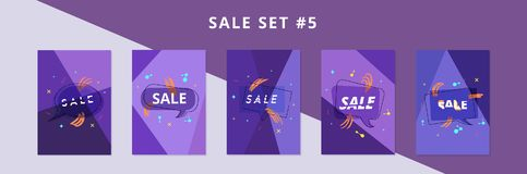 Free Sale Banners With Geometric Abstract Composition. Vector Illustration. Royalty Free Stock Photos - 119069868