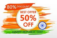 Sale befordran och annonsering för republikdag av Indien vektor illustrationer