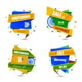 Sale befordran och annonsering för 15th August Happy Independence Day av Indien stock illustrationer