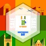 Sale befordran och annonsering för 15th August Happy Independence Day av Indien royaltyfri illustrationer