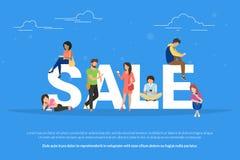Sale begreppsillustration av ungdomarsom använder mobila enheter liksom smartphone- och minnestavlaPC för att köpa kläder direkta stock illustrationer