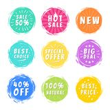 Sale 50 Best Choice Special Offer Promo Stickers. Sale 50 best hot choice special big deal 40 off, absolutly natural offer promo stickers round labels brush Stock Images