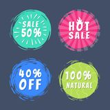 Sale 50 Best Choice Special Offer Promo Stickers. Sale 50 best hot choice special offer promo100 natural stickers round labels brush strokes vector illustration Stock Images