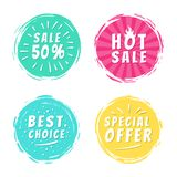 Sale 50 Best Choice Special Offer Promo Stickers. Sale 50 best hot choice special offer promo stickers round labels brush strokes vector illustration stamps with Stock Photo