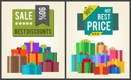 Sale Best Discounts Super Hot Prices Final Total. 90 offer now sticker labels on banners with present festive gift boxes vector illustration posters set Stock Photos
