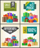 Sale Best Discounts Super Prices Offer 50 Now. 100 sticker labels on banners with present festive gift boxes vector illustration posters set vector illustration