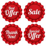 Sale, best offer, special offer, thank you tag set Stock Image