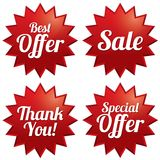 Sale, best offer, special offer, thank you tags Stock Photo