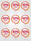 Sale best red label collection. Special offer sale red tag isolated vector illustration. Discount offer price label, symbol for advertising campaign in retail Stock Photo