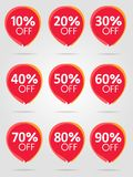 Sale best red stickers collection. Discount offer price label. Special offer sale red tag isolated vector illustration. Discount offer price label, symbol for royalty free illustration