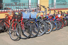 Sale of bicycles on the street Royalty Free Stock Photo
