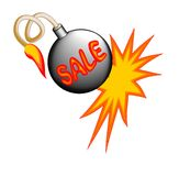 Sale billboard with exploding bomb Royalty Free Stock Images