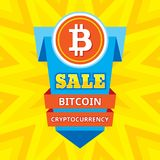 Sale bitcoin blockchain cryptocurrency - creative vector illustration. Digital money concept symbol. Abstract banner. Stock Photos
