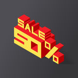 Sale 50% on black background. Vector illustration in 3D isometric style royalty free illustration