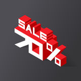 Sale 70% on black background. Vector illustration in 3D isometric style Stock Photo