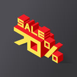 Sale 70% on black background. Vector illustration in 3D isometric style Royalty Free Stock Image