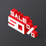 Sale 50% on black background. Vector illustration in 3D isometric style Stock Photography