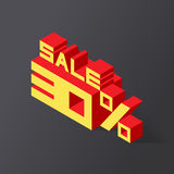 Sale 30% on black background. Vector illustration in 3D isometric style Stock Photo