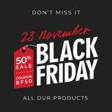 50% sale black friday banner background with price tag symbol. online shop flyer promotion template design. vector illustration. 50% sale black friday banner royalty free illustration