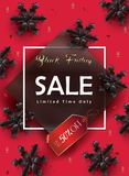Sale. Black Friday Sale, Happy Autumn, Winter Holiday sale banner, festive poster. Sale discount gift card design. Black 3D Snowflakes on red, calligraphy Royalty Free Stock Image