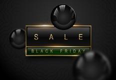 Sale Black Friday luxury banner. Golden text on black green rectangular label frame. Dark geometric pattern background. Vector royalty free stock images