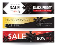 Sale. Black Friday Sale Web banners set. Modern Winter and Fall Thanksgiving, Halloween, Christmas Holiday Sale gift card, shopping card banner discount. Vector Stock Photo