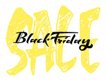 Sale black friday word for signage, stickers, badges, has written calligraphic tools and modified to simple forms Stock Photography