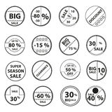 Sale black outline circle icons Stock Photo