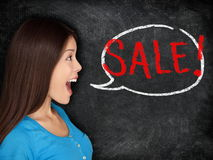 Sale blackboard woman concept royalty free stock photography